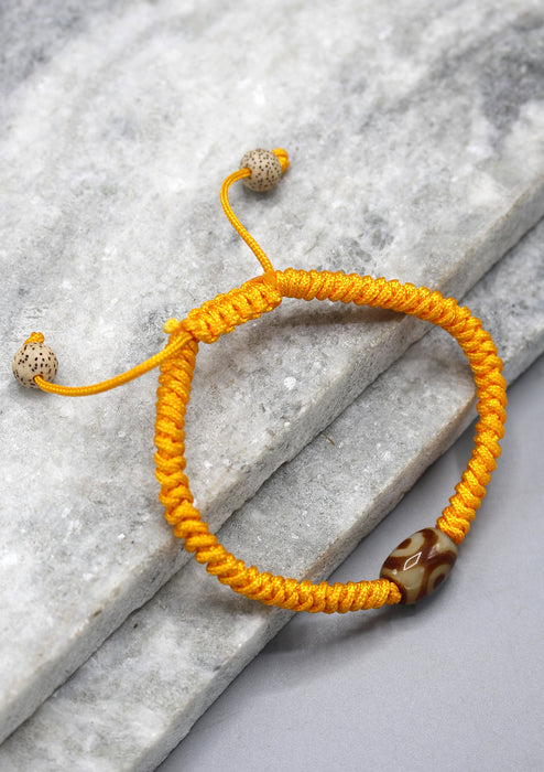 Lucky Knots Dzi Bead Yellow Bracelet