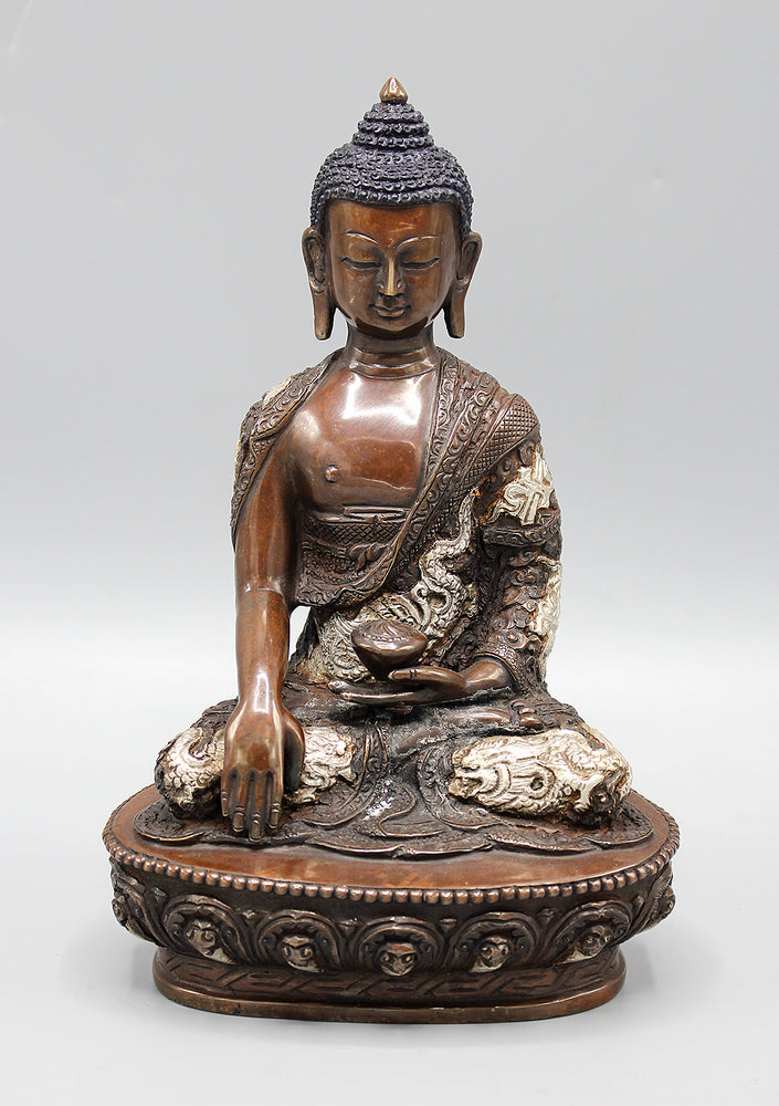 Copper Oxidized Shakyamuni Buddha Statue Dragon Carving