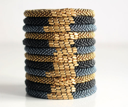 Stylish Golden Metal Crocheted Beads Roll On Bracelet - nepacrafts