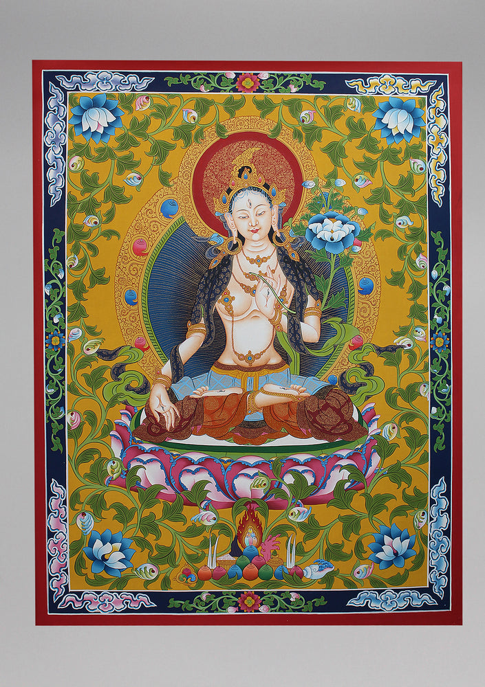 White Tara-Female Boddhisattva Goddess Thangka Painting