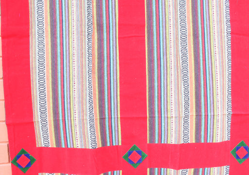 Handmade Thick Multicolor Bhutanese Woven Fabric Cotton Door Curtain - nepacrafts