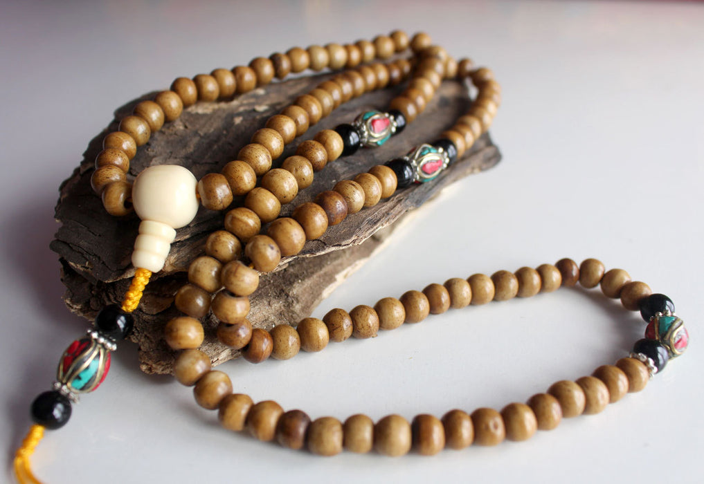 Traditional Bone Prayer Malas with Conch Guru Beads - nepacrafts