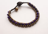 Dark Purple Handwoven Glass Beads Teen Anklet - NepaCrafts