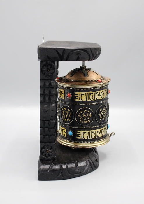 Tibetan Copper Prayer Wheel Wooden Framed Wall Hanging - nepacrafts