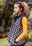Black and White Plus Sign Pattern Multicolor Women's Woolen Cardigan