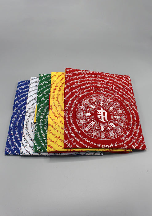 Red Color Namgyalma Powerful Mantra Printed Cotton Prayer Flags
