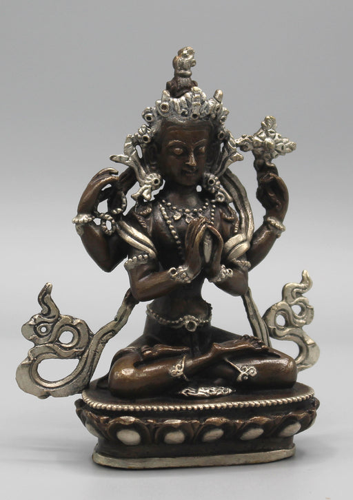 "Copper Chenrezig Statue 4"" High Inlaid Silver Robe - nepacrafts"