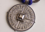 Elegant White Metal Mandala Tribal Pendant from Nepal