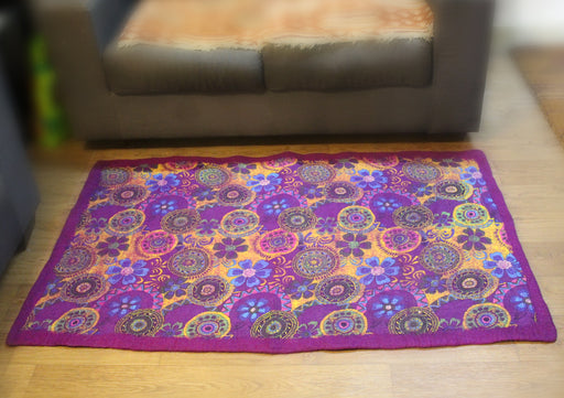 Mandala Flower Print Felt Wool Indoor Mat - nepacrafts