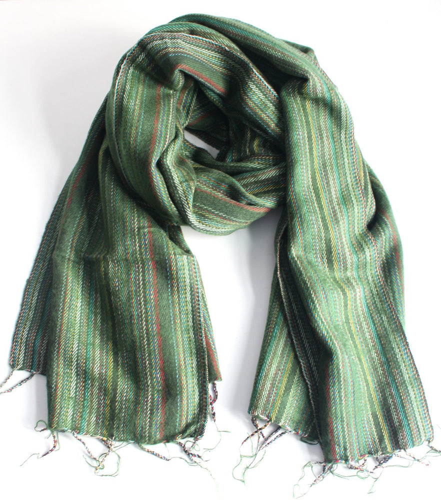 Exclusive Yak Wool Stripe Light Green Shawl - nepacrafts