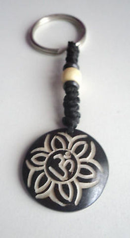 Om In a flower keychain