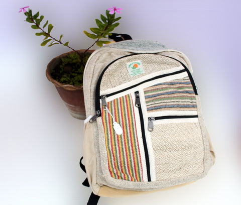 Hemp Backpack with Extra Zipper Pouches