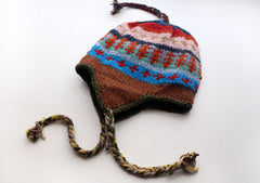 Blue, Red and Brown Multicolor Woolen Sherpa Cap/ Sherpa Hat - NepaCrafts
