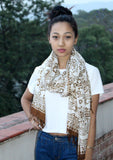 Brown and White Mixed Batik Fabric Cotton Shawl - NepaCrafts