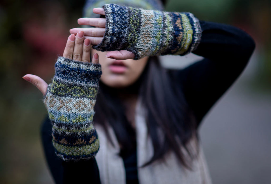 Hand Knit 100% Woolen Hand Warmers-Texting Gloves
