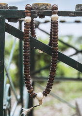 Disk Shaped Yak Bone Prayer Mala with White Conch Counter