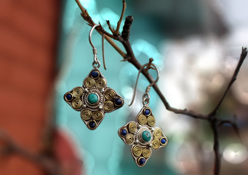 Tibetan Double Dorjee Silver Earrings Inlaid Turquoise and Lapis - nepacrafts