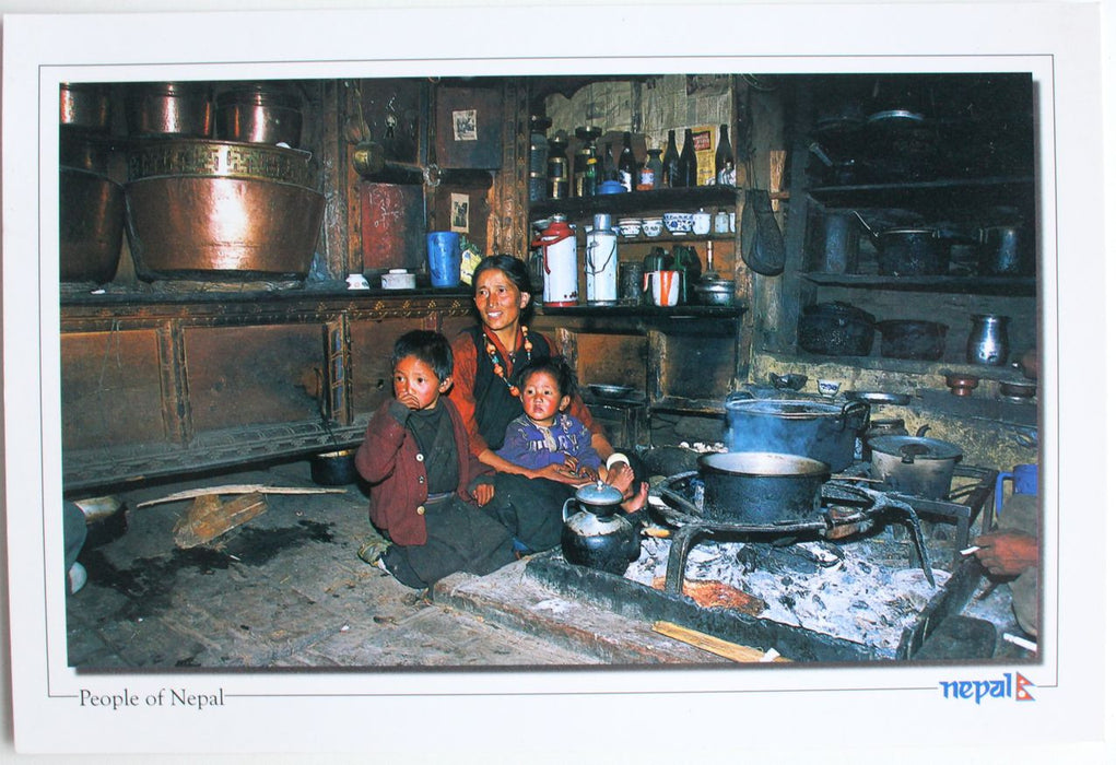 The Typical Sherpa Kitchen Postcard Nepal - nepacrafts