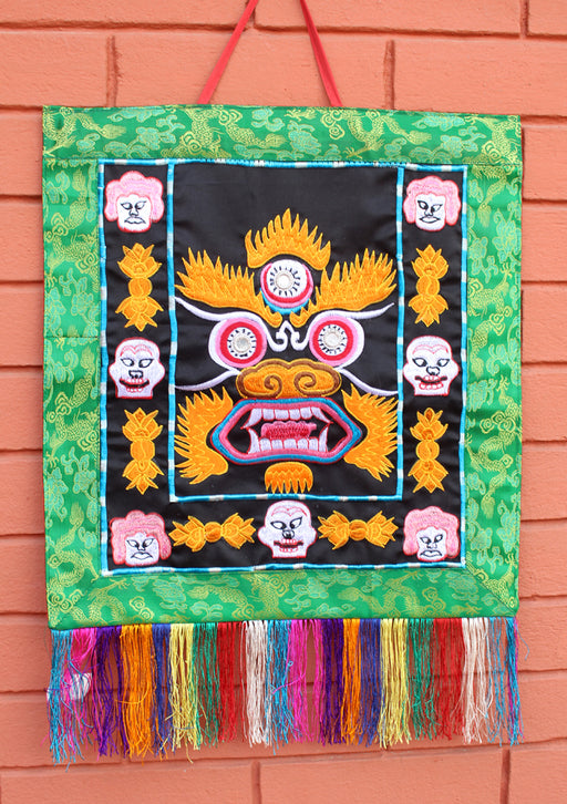 Heavy Embroidered Mahakala Wall Hanging Banner - nepacrafts