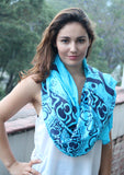 Hindu Om Printed Blue Cotton Shawl From Nepal - NepaCrafts