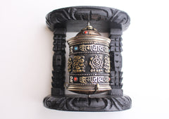 Wooden Framed Tibetan Copper Prayer Wheel Wall Hanging - NepaCrafts