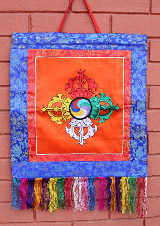 Double Dorjee Embroidered Tibetan Hall Hanging Banner - nepacrafts