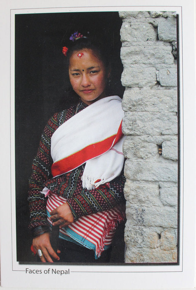 Faces of Nepal Postcard-A Girl in Typical Newari Attire - nepacrafts