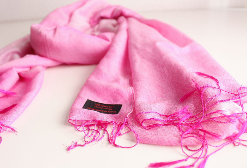 Silk Luscious Pink Yarrow Water Pashmina - nepacrafts