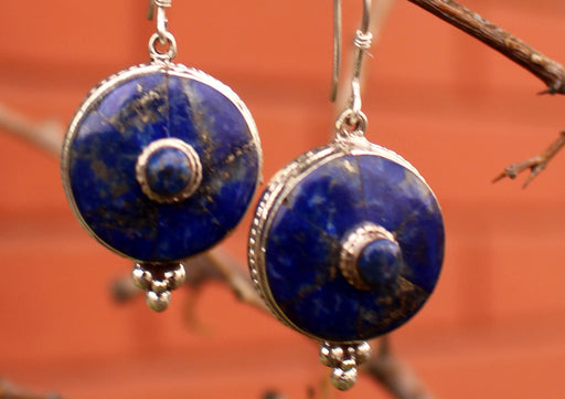 Elegant Lapis Lazuli Silver Sterling Earrings - nepacrafts