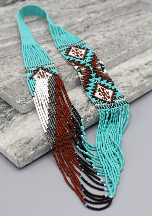 Sea Green and Brown Glass Beads Women's Necklace - nepacrafts
