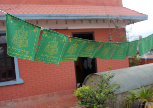 Green Tara Printed Tibetan Prayer Flag, All Green Cotton Prayer Flag - nepacrafts