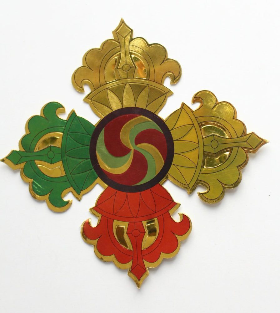 Golden Double Dorjee Sticker - nepacrafts