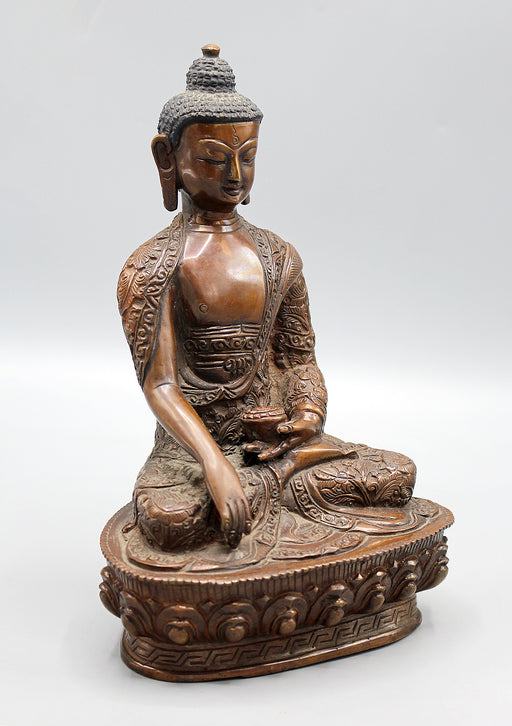 Copper Oxidized Fine Carving Shakyamuni Buddha Statue
