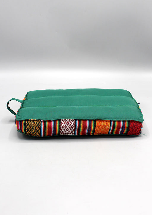 Small Cotton Meditation Cushion with Bhutanese Fabric Border