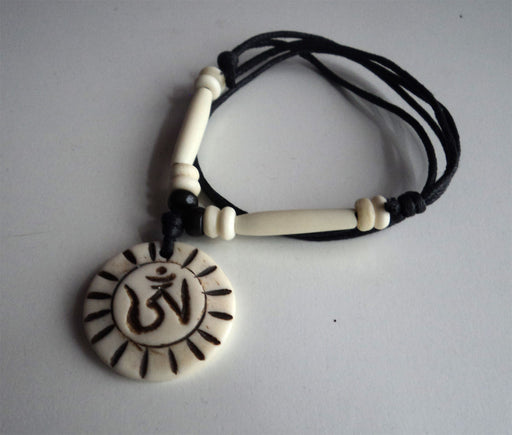 Tibetan Om Sun Power Bone Necklace - nepacrafts