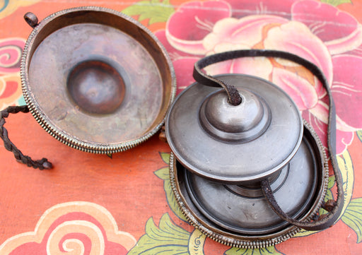 Tibetan Plain Meditation Tingsha/ Cymbals with Hand Carved Copper Cover - nepacrafts