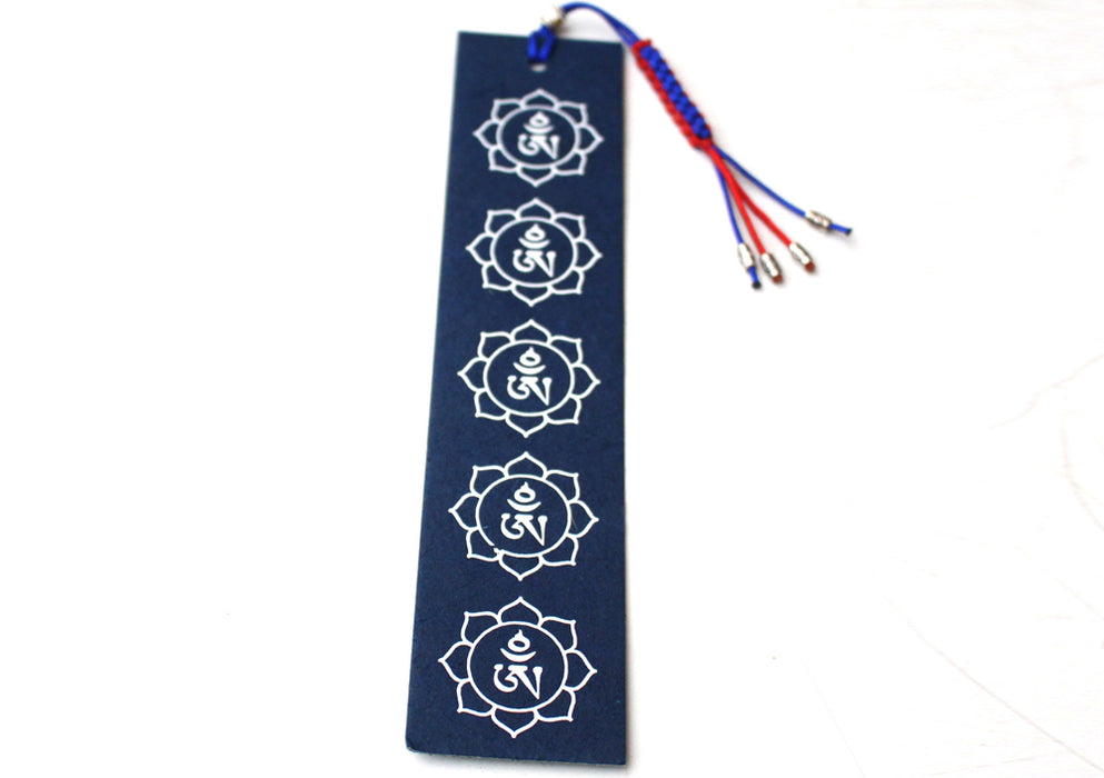 Tibetan Om Lotus Lokta Paper Bookmark with Charm Tassel - nepacrafts