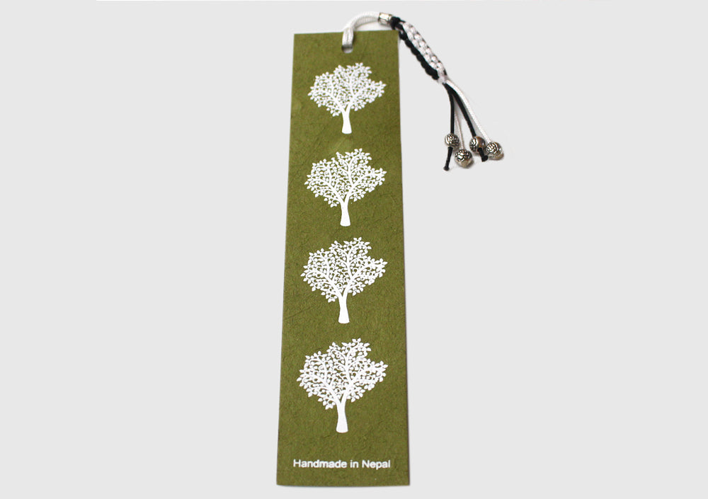 Tree Print Lokta Paper Bookmark with Charm Tassel - nepacrafts