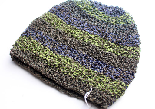 Hand Knitted and Trendy Multicolor lining Hemp Beanie, Hemp Hat - nepacrafts