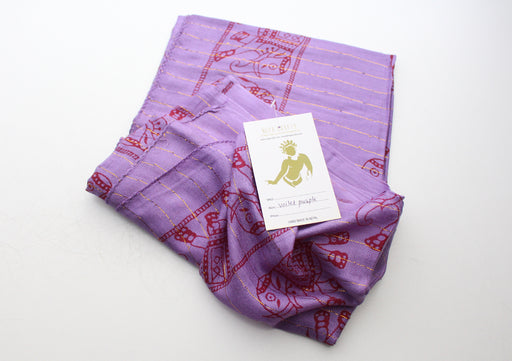 Violet Purple Cotton Meditation Scarf with Elephant Print, Jari Shawl/Scarf - nepacrafts