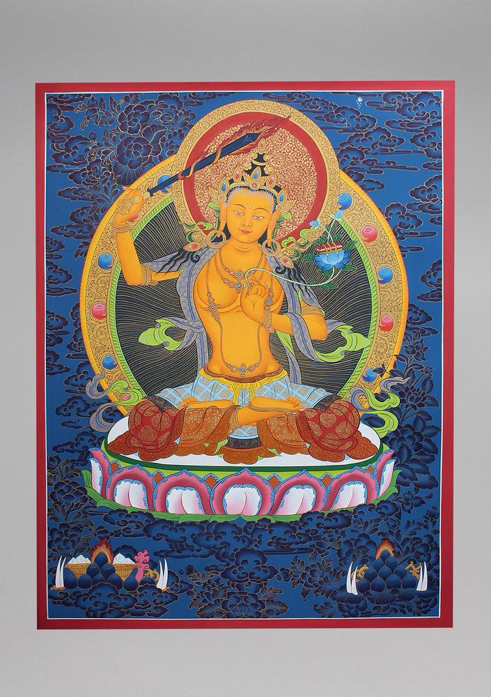 God of Wisdom Manjushree Thangka Painting