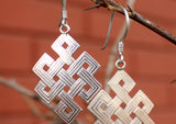 Tibetan Eternal Knot Silver Earrings - NepaCrafts