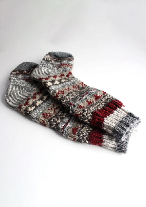 Gray Red Multicolored Pure Woolen Socks