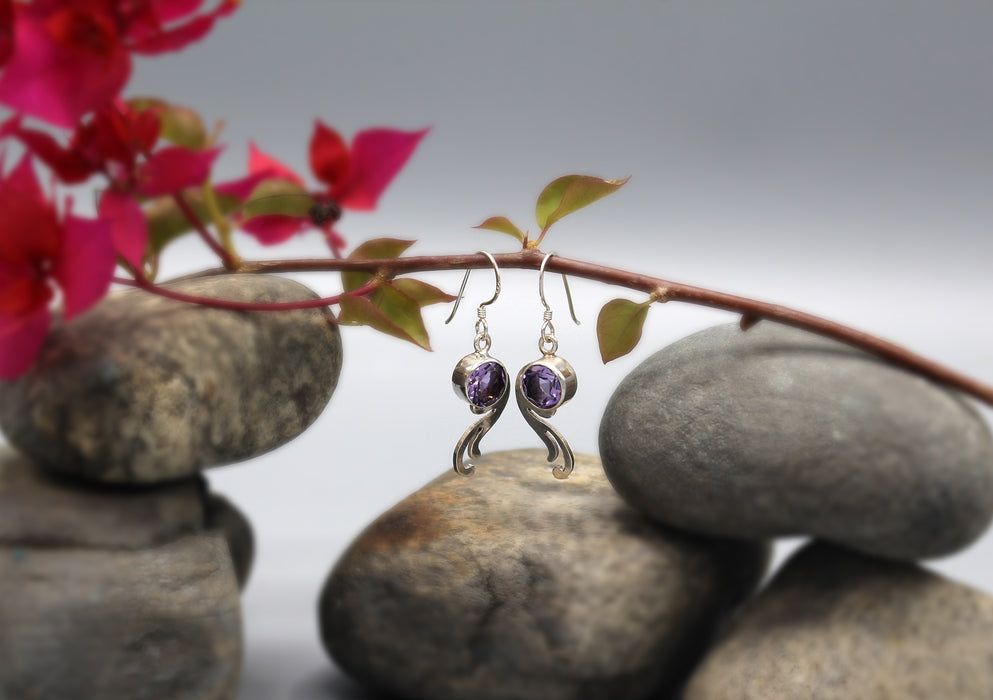 Amethyst Inlaid Sterling Silver Earrings - nepacrafts