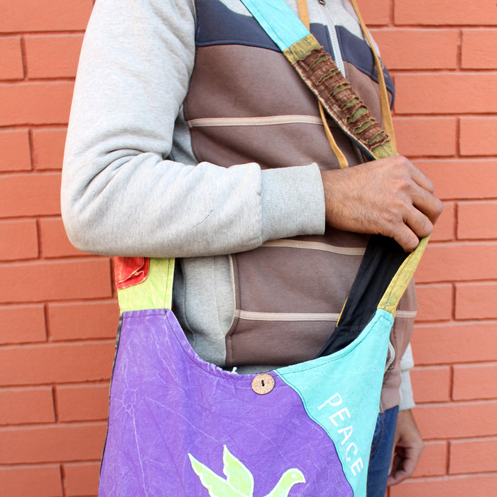 Peace on Earth Patchwork Hippie Bag, Cotton Side Carry Bag - nepacrafts