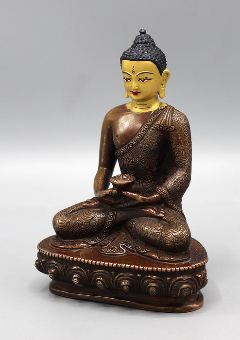 Amitabha Buddha Copper Oxidized Statue with Golden Face