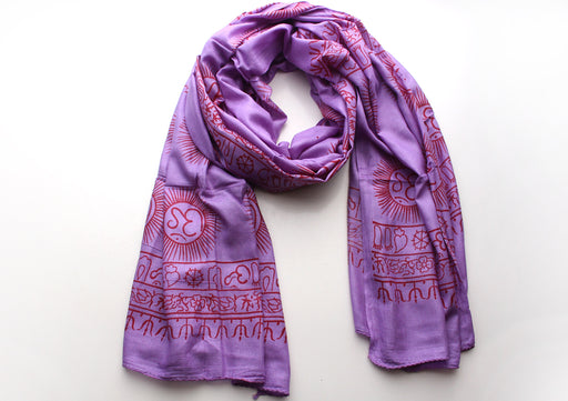 Hindu Om Printed Purple Cotton Meditation and Yoga Shawl - nepacrafts