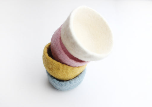 "3.5"" Hand Felted Colorful Jewelry Collector Felt Bowls - nepacrafts"