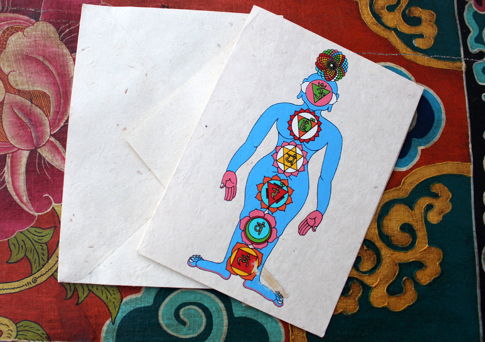 Fair Trade Seven Chakra Painted Handmade Nepalese Lokta Paper Greeting Card - nepacrafts