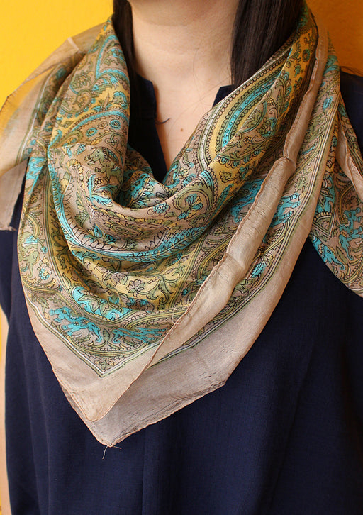 Summer Silk Square Scarves Printed with Colorful Pattern - nepacrafts